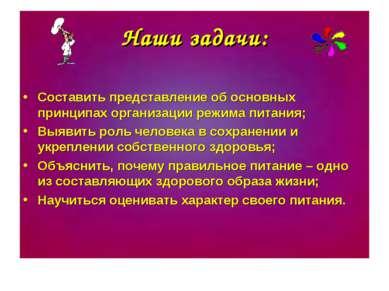 Наши задачи: Составить представление об основных принципах организации режима...