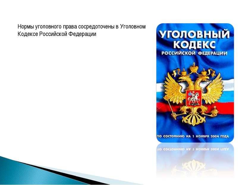 Нормы уголовного права сосредоточены в Уголовном Кодексе Российской Федерации