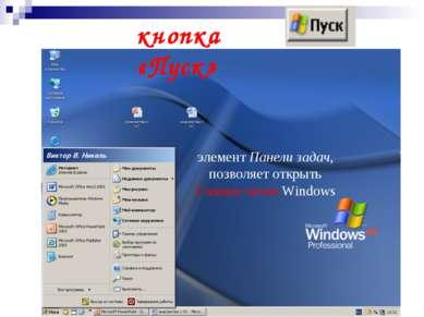 кнопка «Пуск» элемент Панели задач, позволяет открыть Главное меню Windows