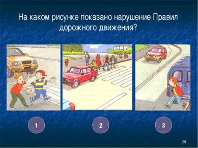 * На каком рисунке показано нарушение Правил дорожного движения? 1 2 3