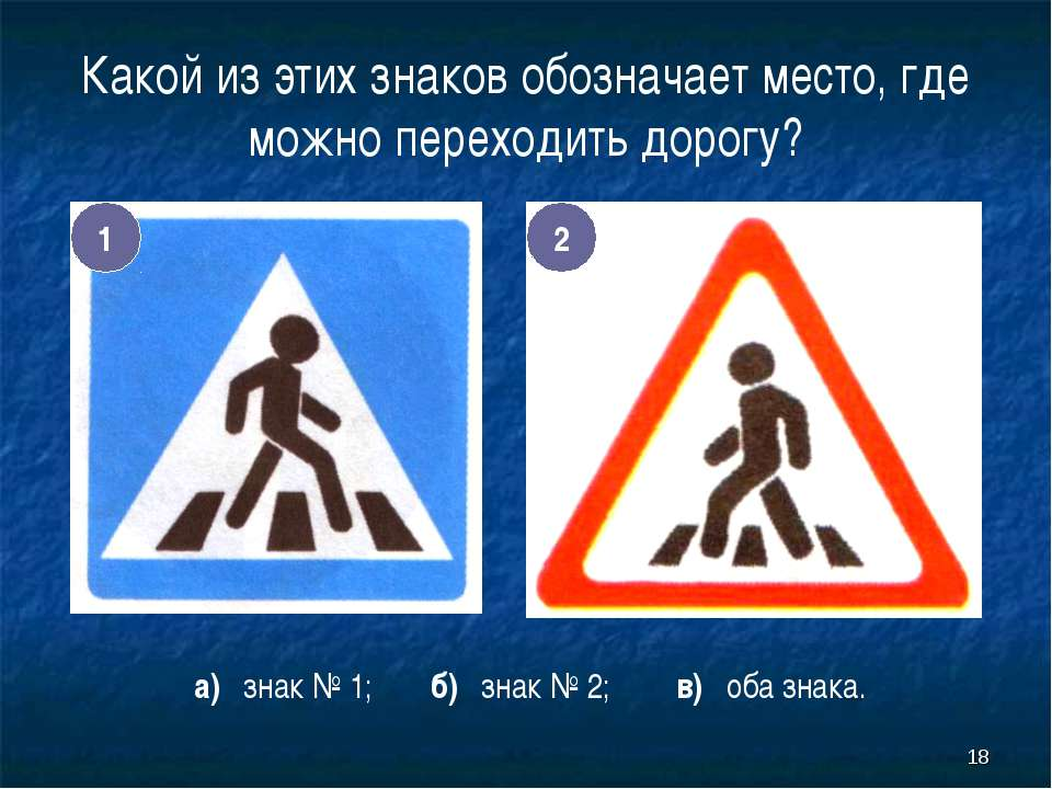 * Какой из этих знаков обозначает место, где можно переходить дорогу? 1 2 а) ...