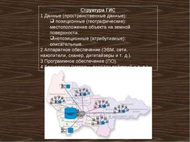Структура ГИС 1 Данные (пространственные данные): позиционные (географические...