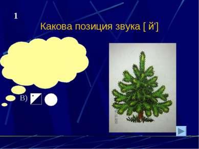 Какова позиция звука [ й'] А) Б) В) 1