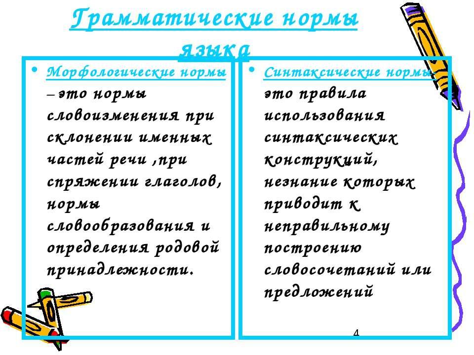 Грамматические нормы языка Морфологические нормы – это нормы словоизменения п...