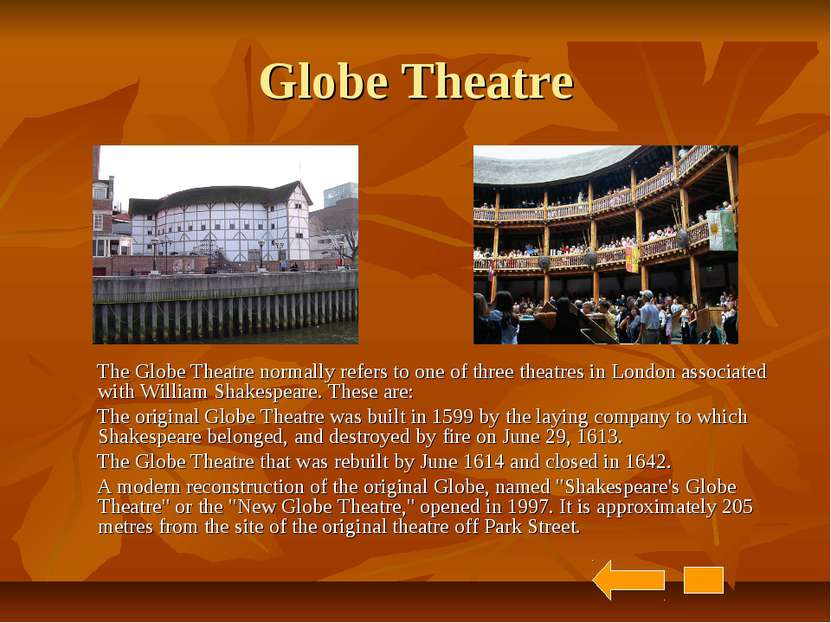 Globe Theatre The Globe Theatre normally refers to one of three theatres in L...