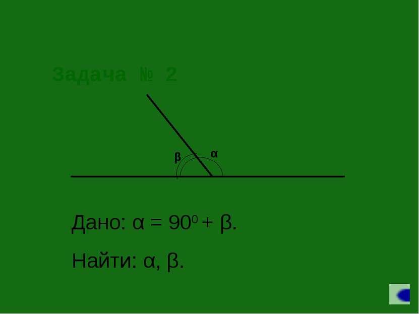 Задача № 2 Дано: α = 900 + β. Найти: α, β.