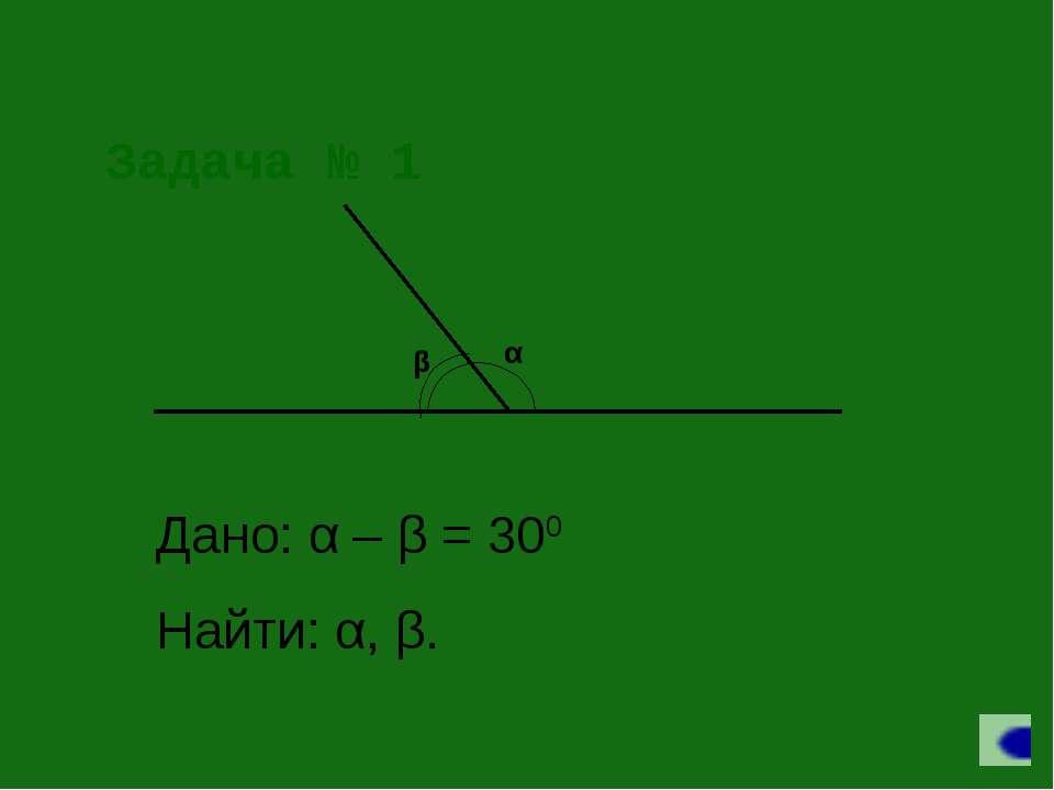 Задача № 1 Дано: α – β = 300 Найти: α, β.