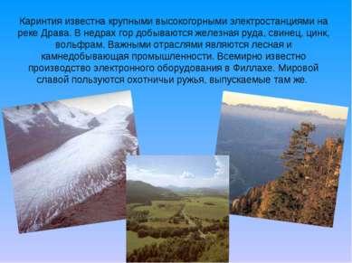 Каринтия известна крупными высокогорными электростанциями на реке Драва. В не...