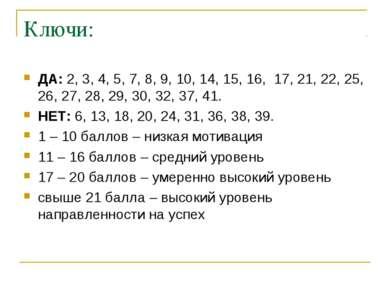 Ключи: ДА: 2, 3, 4, 5, 7, 8, 9, 10, 14, 15, 16, 17, 21, 22, 25, 26, 27, 28, 2...