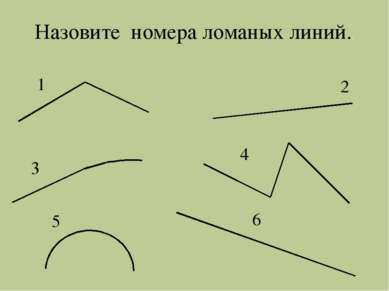 1 2 3 4 5 6 Назовите номера ломаных линий..