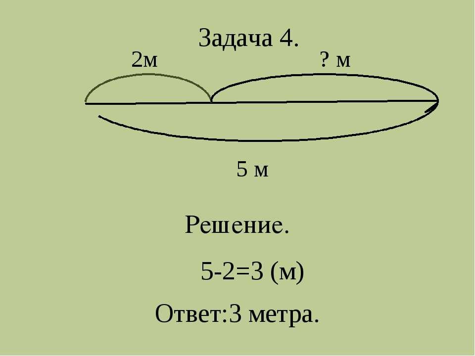 5-2=3 (м) 2м ? м 5 м Решение. Задача 4. Ответ:3 метра.