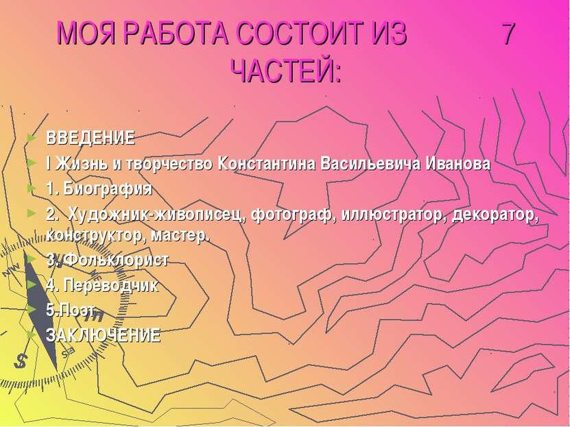 МОЯ РАБОТА СОСТОИТ ИЗ 7 ЧАСТЕЙ: ВВЕДЕНИЕ I Жизнь и творчество Константина Вас...