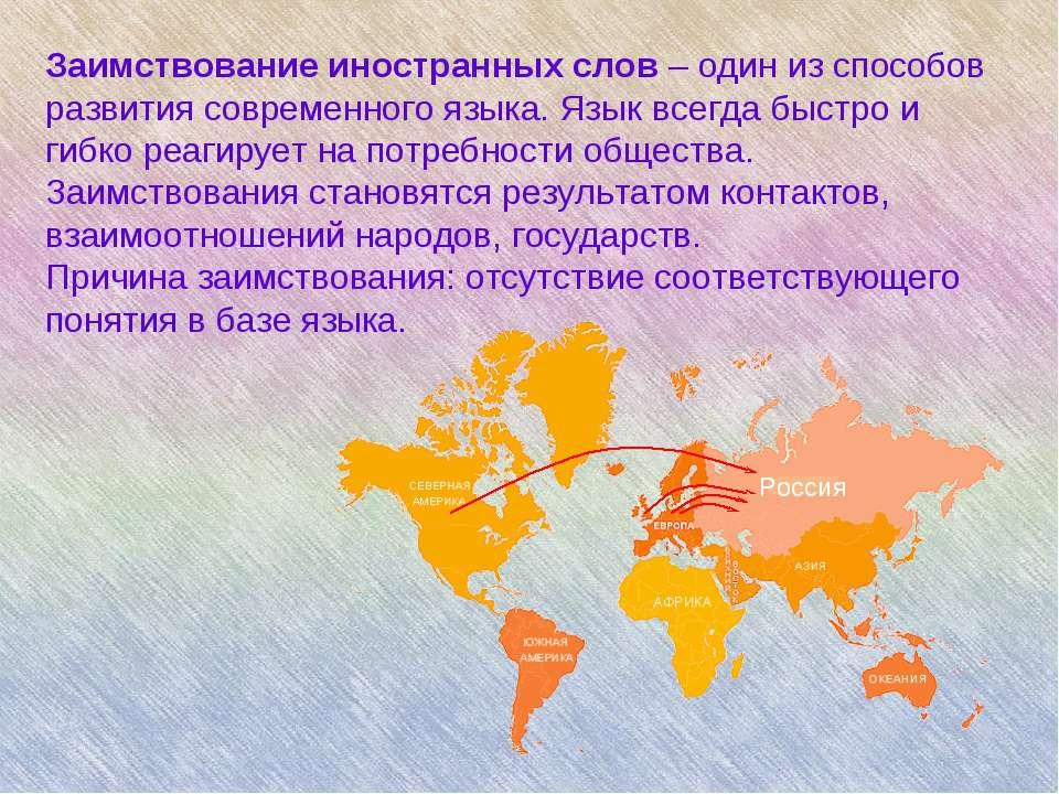 Заимствование иностранных слов – один из способов развития современного языка...