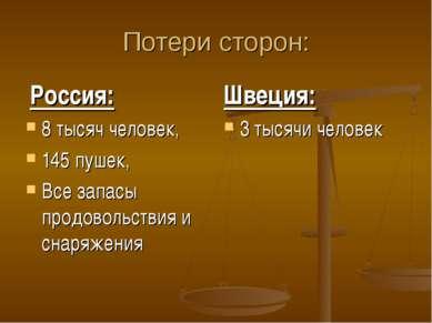 Потери сторон: Россия: 8 тысяч человек, 145 пушек, Все запасы продовольствия ...