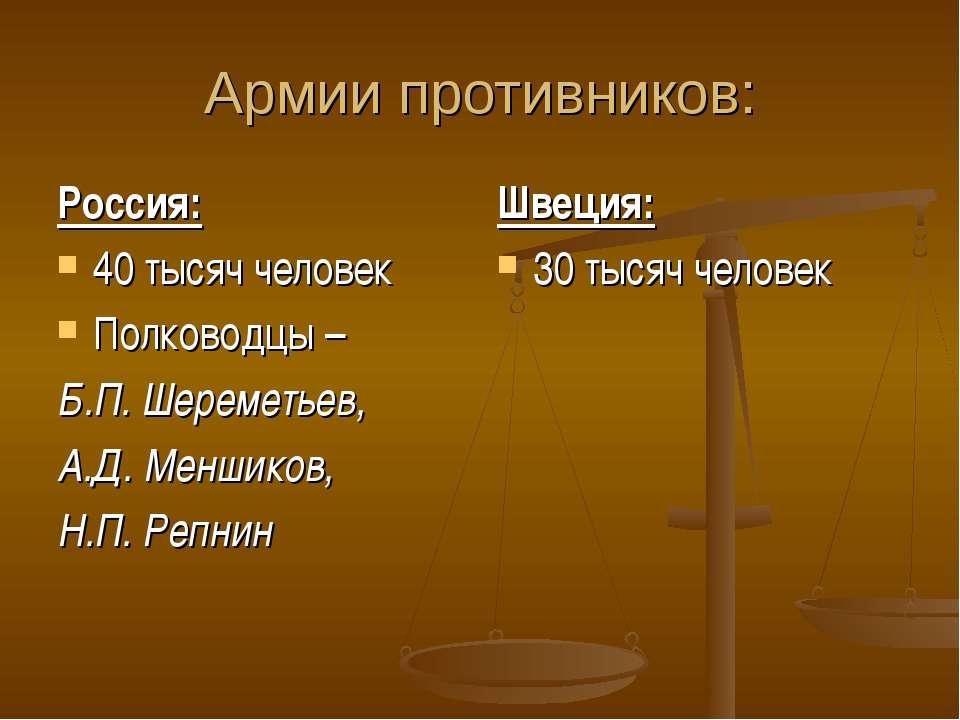 Армии противников: Россия: 40 тысяч человек Полководцы – Б.П. Шереметьев, А.Д...