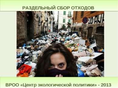 РАЗДЕЛЬНЫЙ СБОР ОТХОДОВ ВРОО «Центр экологической политики» - 2013