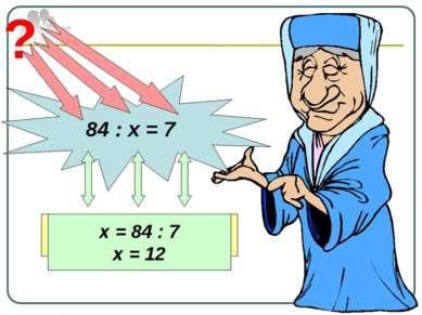 84 : х = 7 ? Делимое Неизвестный делитель Частное х = 84 : 7 х = 12