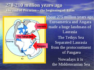 270-210 million years ago The end of Permian – the beginning of Trias About 2...