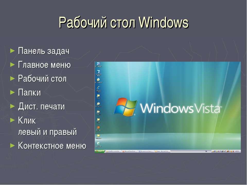 Рабочий стол Windows Панель задач Главное меню Рабочий стол Папки Дист. печат...