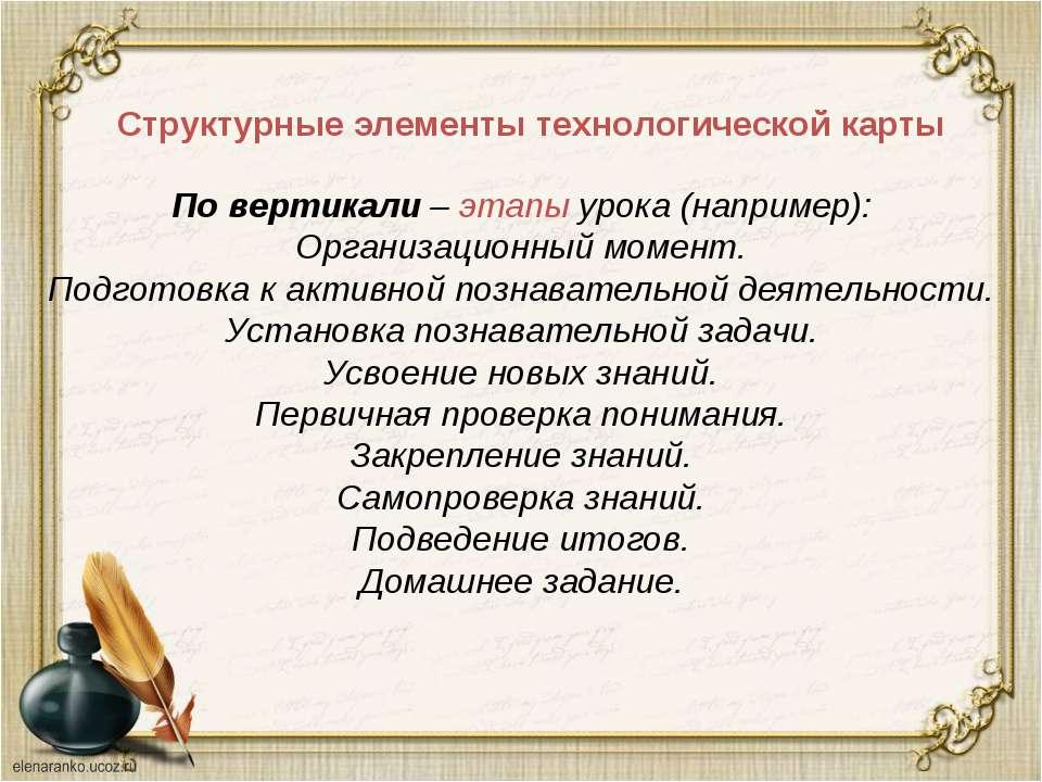 Структурные элементы технологической карты По вертикали – этапы урока (наприм...