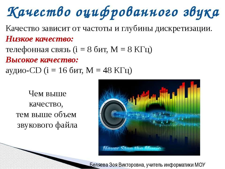 Качество оцифрованного звука Качество зависит от частоты и глубины дискретиза...