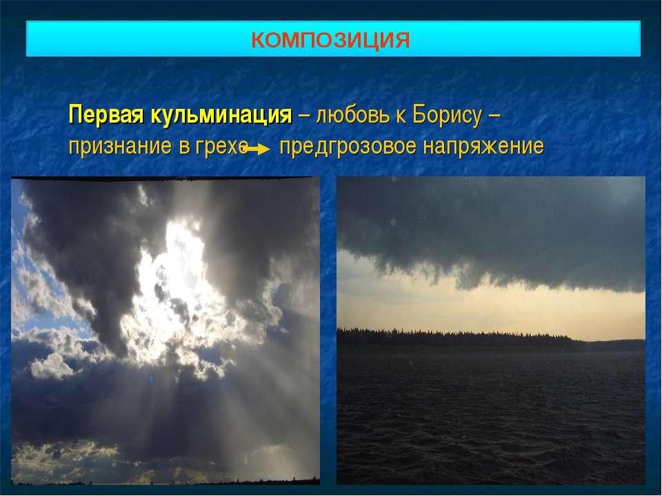 КОМПОЗИЦИЯ Первая кульминация – любовь к Борису – признание в грехе предгрозо...