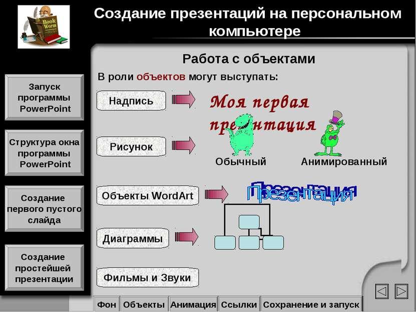 Работа с объектами В роли объектов могут выступать: Создание презентаций на п...