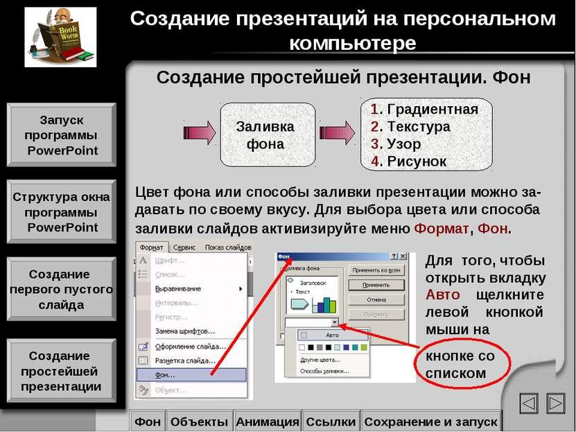 Создание простейшей презентации. Фон Фон Объекты Анимация Ссылки Сохранение и...