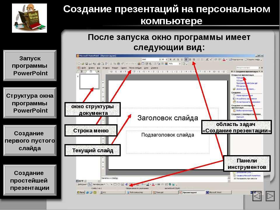 После запуска окно программы имеет следующии вид: Текущий слайд Панели инстру...