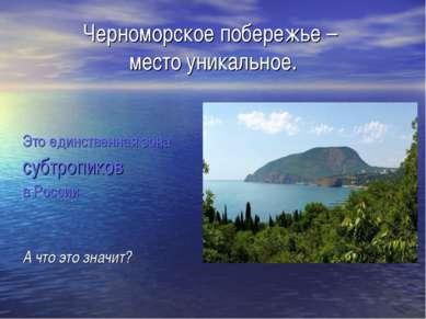 Черноморское побережье – место уникальное. Это единственная зона субтропиков ...