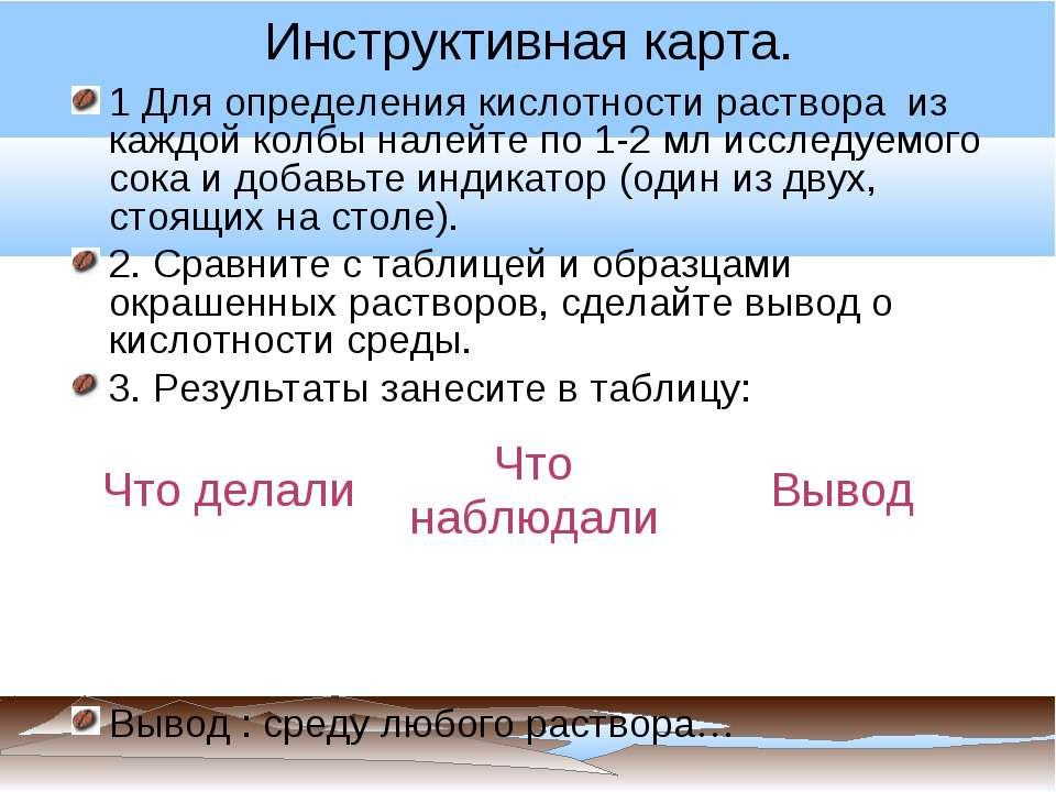 Инструктивная карта. 1 Для определения кислотности раствора из каждой колбы н...