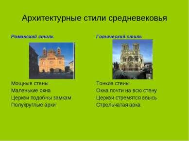 Архитектурные стили средневековья Романский стиль Готический стиль Мощные сте...