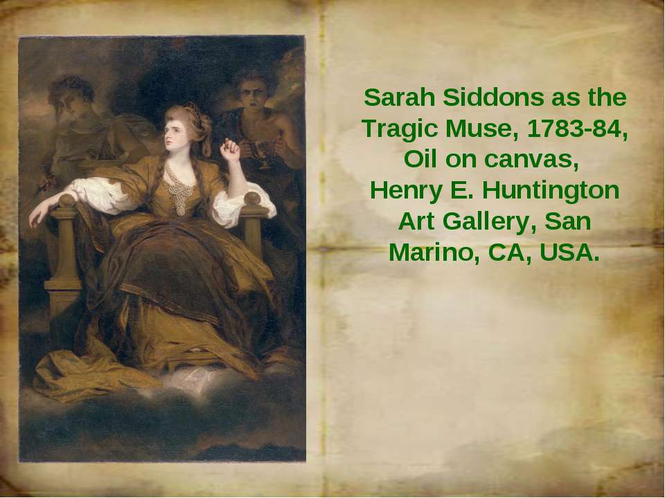Sarah Siddons as the Tragic Muse, 1783-84, Oil on canvas, Henry E. Huntington...