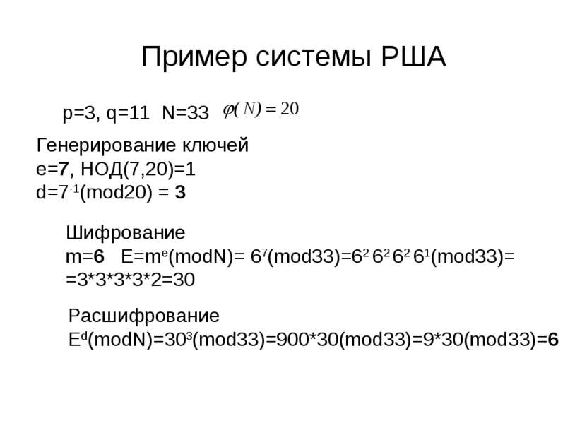 Пример системы РША p=3, q=11 N=33 Генерирование ключей e=7, НОД(7,20)=1 d=7-1...
