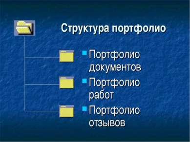 Структура портфолио Портфолио документов Портфолио работ Портфолио отзывов