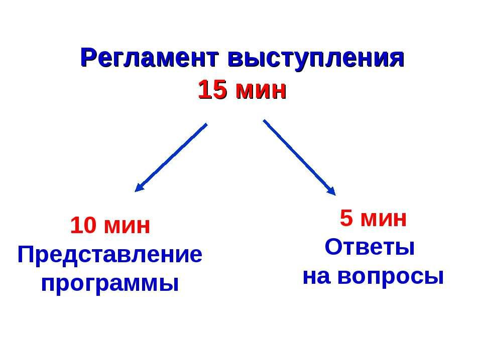 10 мин Представление программы 5 мин Ответы на вопросы Регламент выступления ...