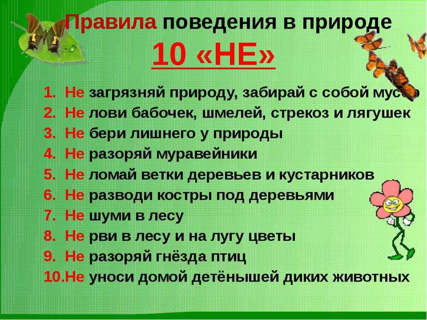 Правила поведения в природе 10 «НЕ» Не загрязняй природу, забирай с собой мус...