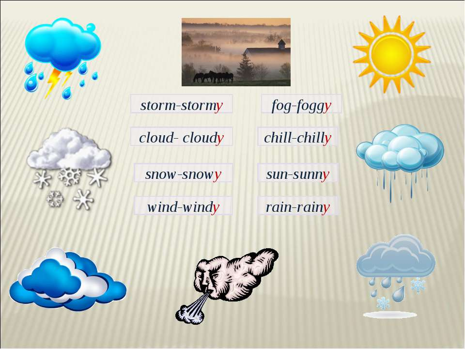 fog-foggy storm-stormy cloud- cloudy chill-chilly snow-snowy sun-sunny rain-r...
