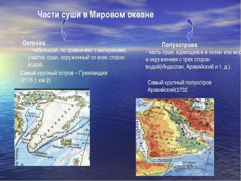 Части суши в Мировом океане Острова Полуострова - небольшой, по сравнению с м...