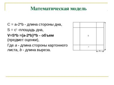 Математическая модель С = a-2*b - длина стороны дна, S = c2 -площадь дна, V=S...