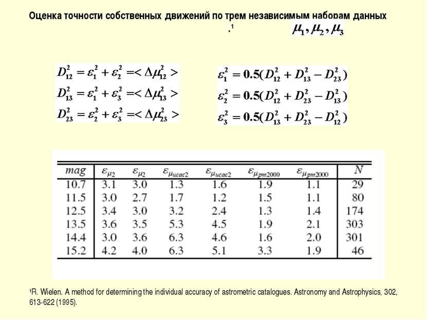 Оценка точности собственных движений по трем независимым наборам данных .1 1R...