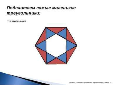 Подсчитаем самые маленькие треугольники: 12 маленьких * Босова Л.Л. Методика ...