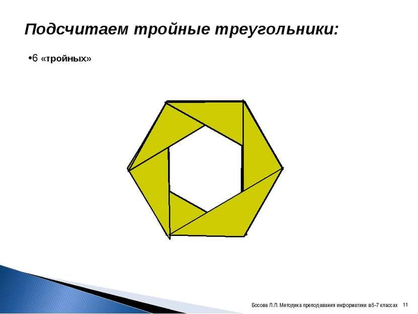Подсчитаем тройные треугольники: 6 «тройных» * Босова Л.Л. Методика преподава...