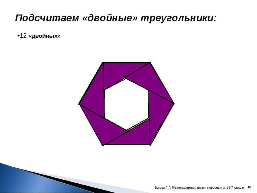 Подсчитаем «двойные» треугольники: 12 «двойных» * Босова Л.Л. Методика препод...