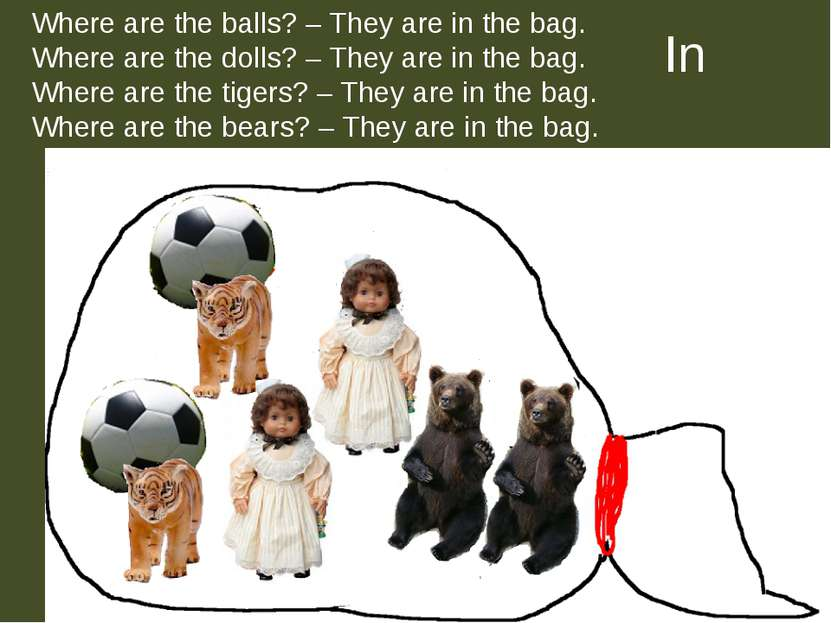In Where are the balls? – They are in the bag. Where are the dolls? – They ar...