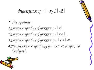 Функция y=||x-1|-2| Построение. 1)Строим график функции y=|x|. 2)Строим графи...