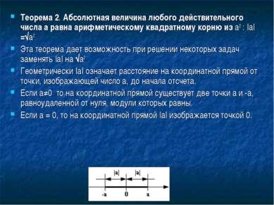 Теорема 2. Абсолютная величина любого действительного числа a равна арифметич...