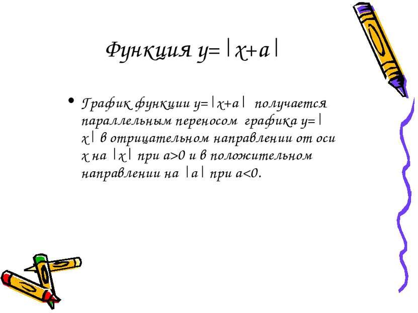 Функция у=|x+a| График функции у=|x+a| получается параллельным переносом граф...