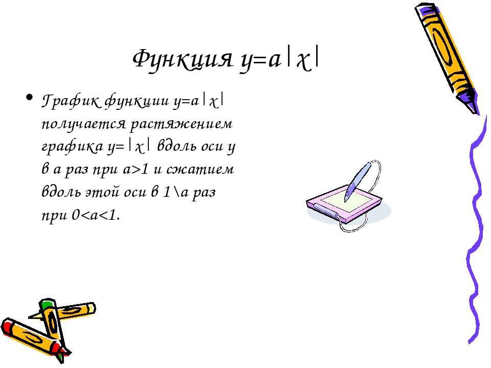 Функция у=а|х| График функции у=а|х| получается растяжением графика у=|х| вдо...