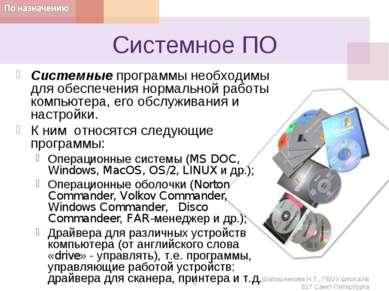 Системное ПО Системные программы необходимы для обеспечения нормальной работы...